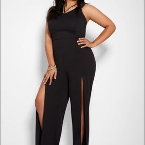 Criss-cross black jumpsuit with slits *NWOT*